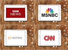 Worldwide news agencies bbc , msnbc , reuters and cnn Stock Images