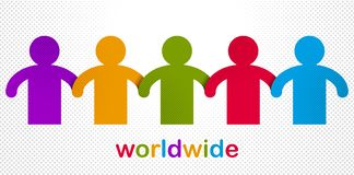 Worldwide people global society concept, different races solidarity, we stand as one, togetherness and friendship allegory, world. Unity cooperation, vector royalty free illustration