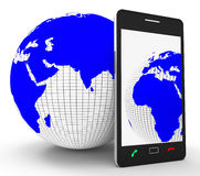 Worldwide Phone Connection Means Web Site And Globalize Royalty Free Stock Images