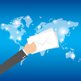 Worldwide postage. Emailing and online shopping. vector Royalty Free Stock Photos