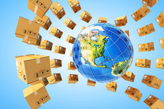 Worldwide purchases delivery and logistics concept Royalty Free Stock Photos