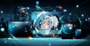 Worldwide server interface over modern tech devices 3D rendering. Worldwide server interface over modern tech devices in dark background 3D rendering Royalty Free Stock Photos