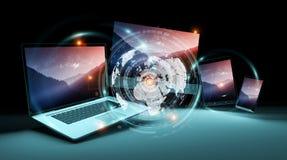 Worldwide server interface over modern tech devices 3D rendering. Worldwide server interface over modern tech devices in dark background 3D rendering Stock Image