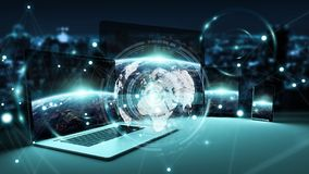Worldwide server interface over modern tech devices 3D rendering. Worldwide server interface over modern tech devices in dark background 3D rendering Stock Images