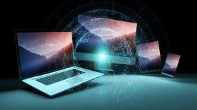 Worldwide server interface over modern tech devices 3D rendering. Worldwide server interface over modern tech devices in dark background 3D rendering Royalty Free Stock Image