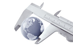 Worldwide service. Worldwide technical service. Caliper measured globe. (transparent PNG attached Stock Image