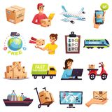 Worldwide Shipment Delivery Icons Set. Worldwide express delivery shipment tracking and courier services icons collection with transportation operators parcels Royalty Free Stock Images