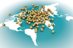 Worldwide shipping. Shipping boxes on world map, worldwide shipping concept stock photography