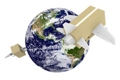 Worldwide shipping and airmail delivery with parcel airplanes. Cardboard box planes making deliveries around the world. Parts of this image furnished by NASA Stock Photos