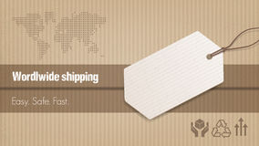 Worldwide shipping banner. Worldwide shipping and sales banner with tag, carton box background and world map Royalty Free Stock Photography