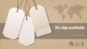Worldwide shipping banner Stock Photo