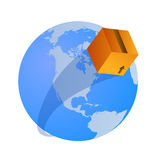 Worldwide shipping  concept. Vector illustration of a shipping box flying over the earth, related to cargo, logistic and shipping companies working worldwide Royalty Free Stock Image