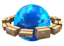 Worldwide shipping concept. Row of cardboard boxes around blue Earth globe isolated on white background Royalty Free Stock Images