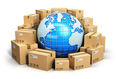 Worldwide shipping concept. Creative abstract global logistics, shipping and worldwide delivery business concept: blue Earth planet globe surrounded by heap of Royalty Free Stock Photo