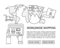 Worldwide shipping and delivery, online shopping Stock Images