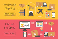 Worldwide shipping and delivery, online shopping Stock Image