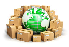 Worldwide shipping and ecology concept. Creative abstract global logistics, shipping, worldwide delivery business and ecology concept: green Earth planet globe Royalty Free Stock Photography