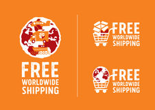 Worldwide shipping logos and signs with globe icon. Freehand drawing vector Illustration Royalty Free Stock Image