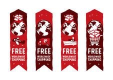 Worldwide shipping logos and signs with globe icon. Freehand drawing vector Illustration Stock Photo