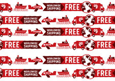 Worldwide shipping logos and signs pattern Stock Photos