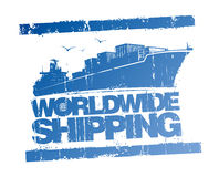 Worldwide shipping stamp. Worldwide shipping blue rubber stamp Royalty Free Stock Images