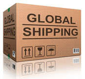 Worldwide shipping. Web shop icon concept for shipping online shopping order global cardboard box with text package delivery ecommerce Stock Images