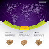 Worldwide shipping website template design Stock Photos
