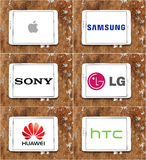 Worldwide smartphone and technology brands apple , samsung , sony , lg , huawei , htc stock illustration