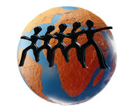 Worldwide teamwork. Silhouette of stickmen hand in hand encircling a colorful earth isolated against white background for the concept of human solidarity royalty free stock image