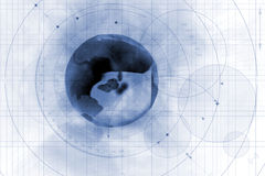 Worldwide technology. Illustration of the globe against a technical, gridded background Stock Image