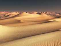 Worldwide temperature change idea. solitary sand dunes under spectacular evening sunset sky at drought desert landscape Royalty Free Stock Photography