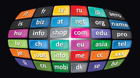 Worldwide Top Domains Stock Image
