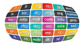 Worldwide Top Domains Stock Photo