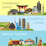 Worldwide travel set with famous attractions. Worldwide travel horizontal flyers with famous architectural attractions. Charming Japan. Colorful China. Bright Stock Images