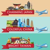 Worldwide travel set with famous attractions royalty free illustration