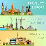 Worldwide travel set with famous attractions. Worldwide travel horizontal flyers with famous architectural attractions. Travel to Europe. Discover Asia. Explore Royalty Free Stock Photography