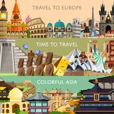 Worldwide travel set with famous attractions. Worldwide travel horizontal flyers with famous architectural attractions. Travel to Europe. Colorful asia. Time to Royalty Free Stock Image