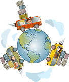Travel and vacation illustration. Worldwide travel and vacation concept with passengers in three cars loaded with suitcases, driving around the globe Stock Photos