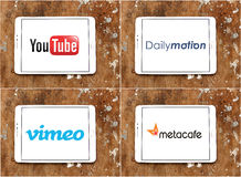 Worldwide video websites logos youtube , dailymotion , vimeo , metacafe Royalty Free Stock Image