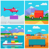 Worldwide Warehouse. Logistics containers shipping Stock Photo