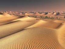Worldwide warming concept. solitary sand ridges under impressive evening sundown sky at drought desert scenery 3d Stock Images