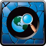 Worldwide web search with a blue cracked web icon Royalty Free Stock Photography