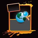 Worldwide web search on orange splattered ad Stock Photo