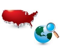 Worldwide web search by united states icon Royalty Free Stock Photography