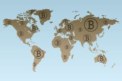Worldwide working connected blockchain technologies Stock Photo