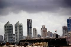 Worli Fort with the Worli Skyline in background Stock Image