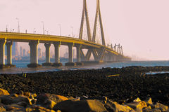 Worli sealink. The modern bridge of Worli in Mumbai that connects two parts of the city Stock Images