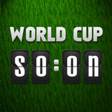 Worls cup soon, scoreboard on grass background. Sport template. Vector illustration Royalty Free Stock Photos