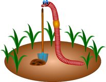 Worm. Earthworm on the ground with plants royalty free illustration