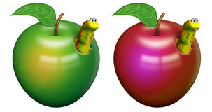 Worm in an apple Stock Images